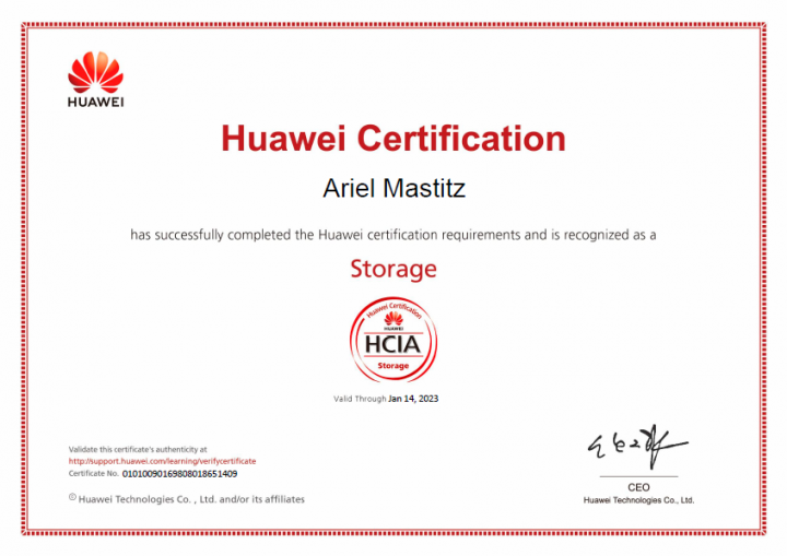Ariel Mastitz (Huawei Certification)