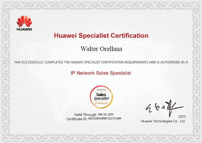 Walter Orellana (Huawei Certification)