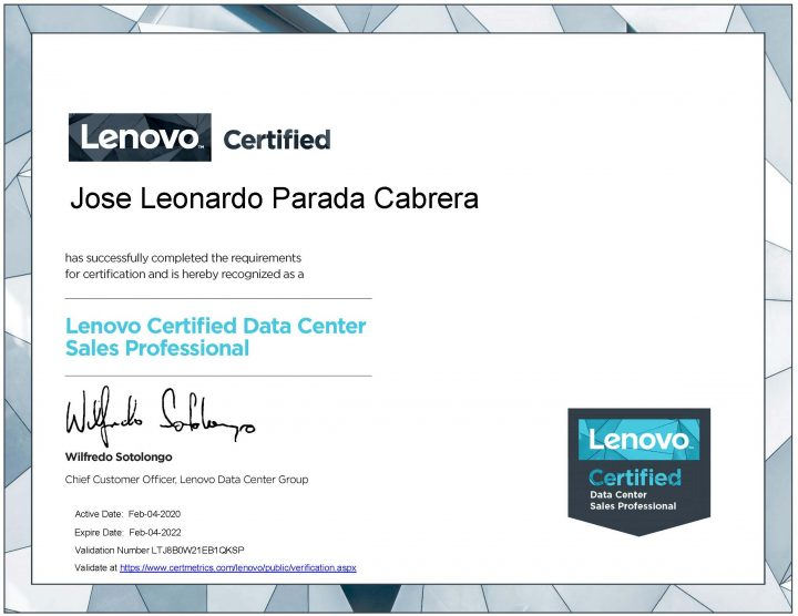 Leonardo Parada (Lenovo Data Center Sales Professional)